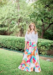 Sheridan French Tiffany Skirt, Rainbow Monstera