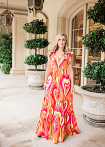 Sheridan French Kelly Dress, Orange Heart Ikat