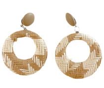 Woven Raffia Pendant Earrings, Tan/White