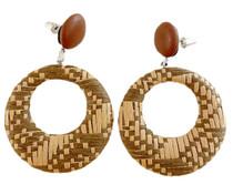 Woven Raffia Pendant Earrings, Tan/Brown