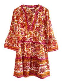 Lola Moroccan Mini Dress, Pink Paisley