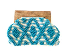 Woven Beach Clutch, Turquoise
