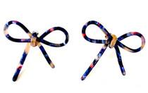 Navy Multi Bow Earrings