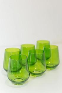 Estelle Stemless Wine Glass Set, Forest Green