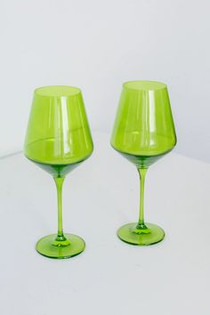 Estelle Colored Stemware Set of 2, Forest Green