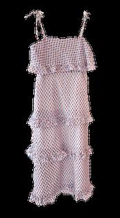 Oliphant Tie Strap Ruffle Midi, Confetti Blue