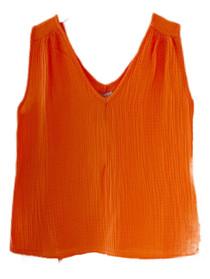 S'edge Aria V- Neck Tank, Orange Peel