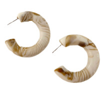 Chunky Lucite Hoops, Cream