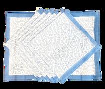 Livro Placemat & Napkin Set, French Blue Fern