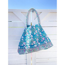 Bell Carry-All Beach Bag, Turquoise Floral