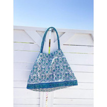 Bell Carry-All Beach Bag, Blue Floral