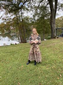 Sue Sartor Paloma Flounce Dress,  Brick / Wheat
