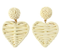 Grace Holiday Rattan Hearts, White