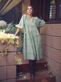 Mille Michelle Dress, Green Trellis