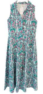Livro Sleeveless Shirtdress, Teal Garden