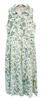 Livro Sleeveless Shirtdress, Teal Garden Vines