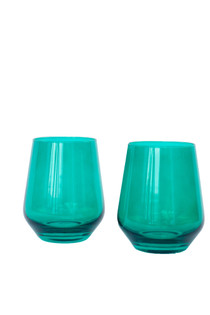 Estelle Stemless Wine Glass Set of 2, Emerald Green