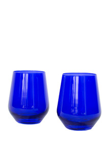 Estelle Stemless Wine Glass Set of 2, Royal Blue