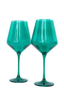 Estelle Colored Stemware Set of 2, Emerald Green