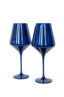 Estelle Colored Stemware Set of 2, Midnight Blue