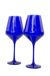 Estelle Colored Stemware Set of 2, Royal Blue