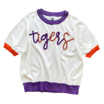 Queen Of Sparkles White Clemson Tigers Sweater