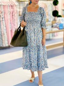 Grace Holiday Frances Dress, Ditsy Blue Field