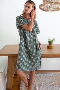 Emerson Fry Colette Short Dress, Moss Gingham