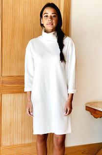 Emerson Fry Raw Edge Turtleneck Dress, White