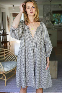 Emerson Fry Rakel Keyhole Short Dress, Coffee Gingham