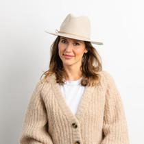 Hat Attack Amelia Suede Tie Trim Hat, Beige
