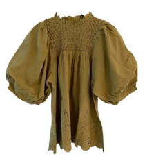 Love The Label Puff Sleeve Eyelet Top, Olive