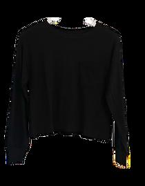 Bobi Long Sleeve Cropped Top, Black