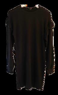 Bobi Ruffle Sleeve Shirt Dress, Black