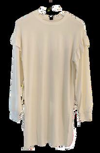Bobi Ruffle Sleeve Shirt Dress, Cream