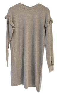 Bobi Ruffle Sleeve Shirt Dress, Heather Grey