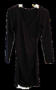Bobi Shirred Cross Fit Dress, Black