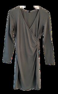 Bobi Shirred Cross Fit Dress, Dark Sage