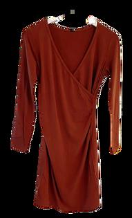 Bobi Shirred Cross Fit Dress, Redwood
