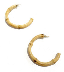Bamboo Circle & Bar Earrings, Natural