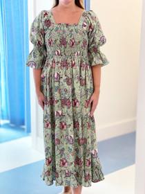 Grace Holiday Frances Dress, Green Apple Chintz