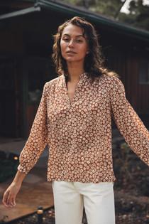 Trovata Bailey Long Sleeve Boho Blouse, Sepia Floral