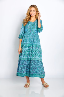 "Bella Tu Cora 48"" 3/4 Sleeve Dress, Reef"