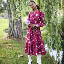 Pink City Prints Daisy Dress, Raspberry Ikat