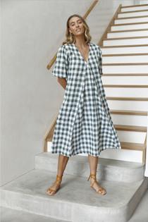 LJC Designs Charlotte Dress, Olive Check