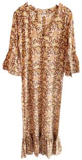 Livro Ruffle Hem Dress, Golden Floral