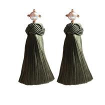 Pearl Tassel Earrings, Olive