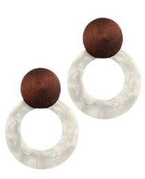 Wood Disk & Acrylic Circle Earrings, White