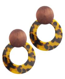 Wood Disk & Acrylic Circle Earrings, Tort