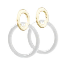 Lucite & Metal Circle Link Earrings, Clear Gold